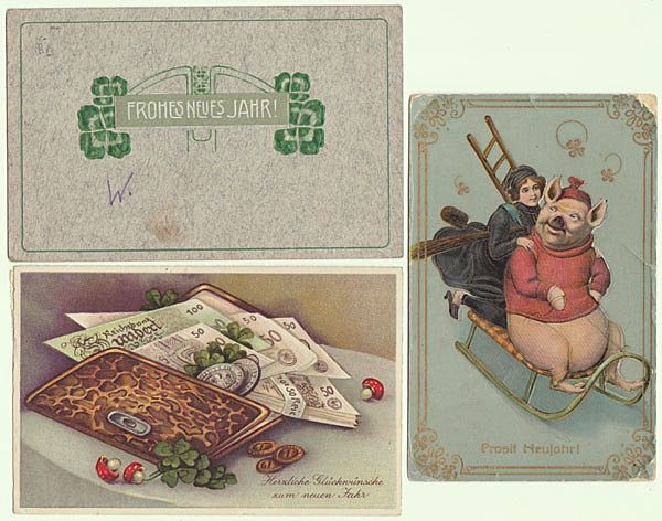 3 New Years Vintage Postcards from Europe