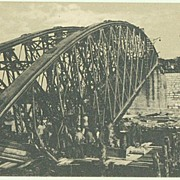 Russia WWI: Destroyed Bridge in Chernivtsi. Vintage Postcard.