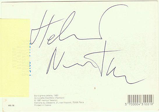 Helmuth Newton Autograph: 1983 Artist Postcard. CoA