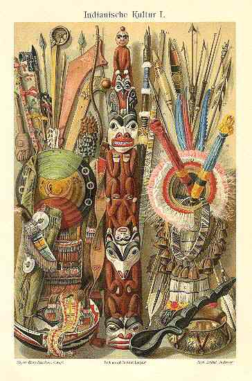 Indian Culture. Decorative Chromo Lithograph from 1898