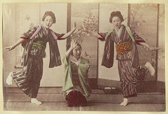Girls performing. Japanese, tinted Albumen Photo. 1880s
