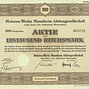 Motoren Werke Mannheim, Reichsmark Stock Certificate from World War 2.