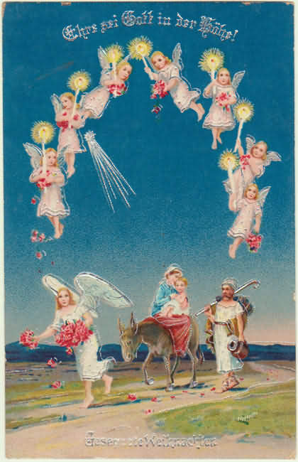 Merry Xmas: Angels and the Holy Family. Vintage Postcard