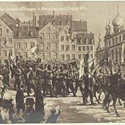 German Troops entering Warsaw. Vintage Postcard