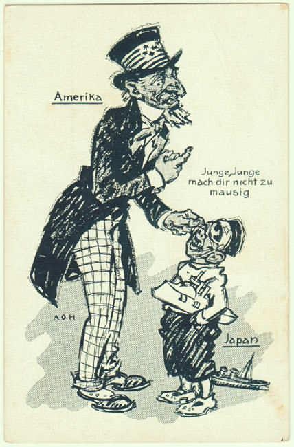 Scarce Propaganda Postcard from WWI Period, USA, Japan.