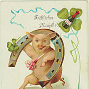 Happy New Year: Art Nouveau Postcard with Pig. 1907