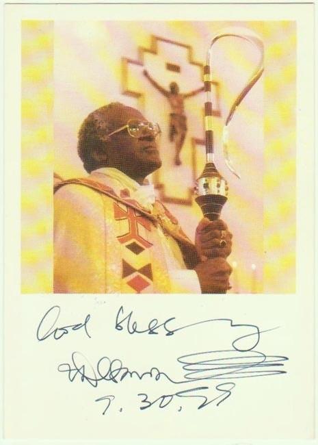 Autograph by Nobel Price Winner Bishop Desmond Tutu. CoA