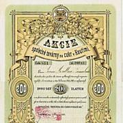 Czech Sugar Refinery Kourimi Stock Certificate. 1871