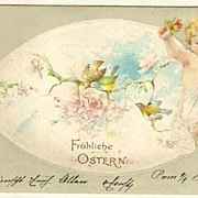 Happy Easter: Embossed Postcard with little Angel. 1903