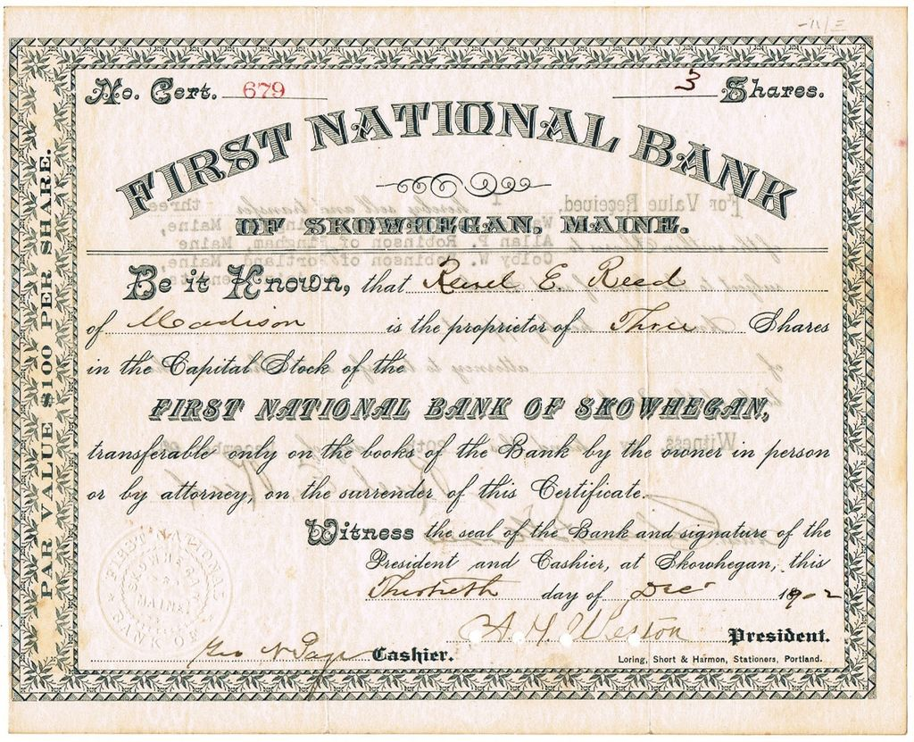 First National Bank of Skowhegan Bank. Antique Stock Certificate 1902