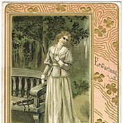 Art Nouveau Postcard 1903. Lady with Trumpet, waiting