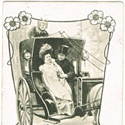 Art Nouveau Postcard of Couple in Carriage. Joker as Driver. 1901