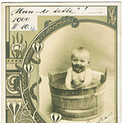 Art Nouveau Postcard with Baby in Tub, 1900