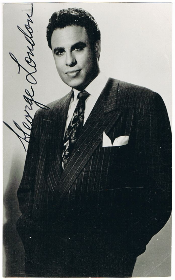 George London Autograph. Hand signed Photo