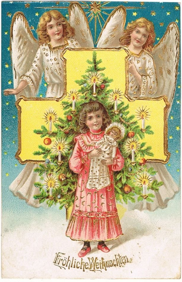 Xmas Postcard with Angels, Girl and Doll, 1907