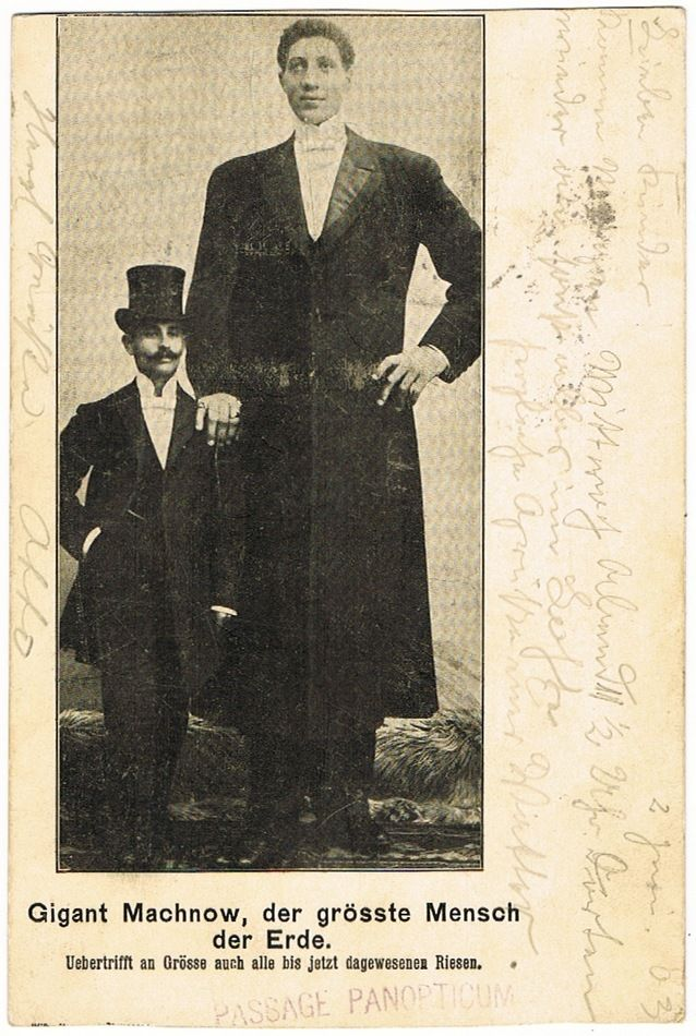 Giant Machnow, tallest Man in World. Vintage postcard 1903