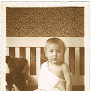 Baby with Teddy Bear, vintage Photo from Austria