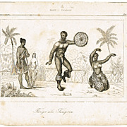 Hawaii Insula. Antique Etching with Dancers. 18. Ct
