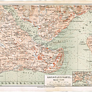 Constantinople Map from 1902. Old Turkey Lithograph