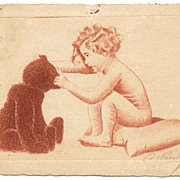 Girl with Teddy Bear. Original Etching as Postcard