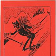 Funny Krampus Postcard, Krampus skiing, 1945