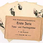Complete Set of Simplicissimus Postcards in Original Sleeve