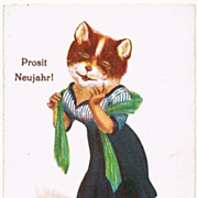 You Tricky Cat! Vintage Postcard New Year