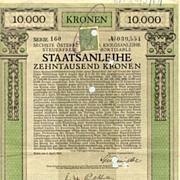 Austrian Art Nouveau: 6th War Bond 10.000 Kronen.