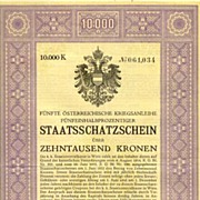 Austrian Art Deco War Bond by Rudolf Junk:  10.000 Crowns Treasury Bond