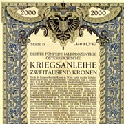 Art Nouveau: War Bond by Berthold Loeffler. 2,000 Kronen