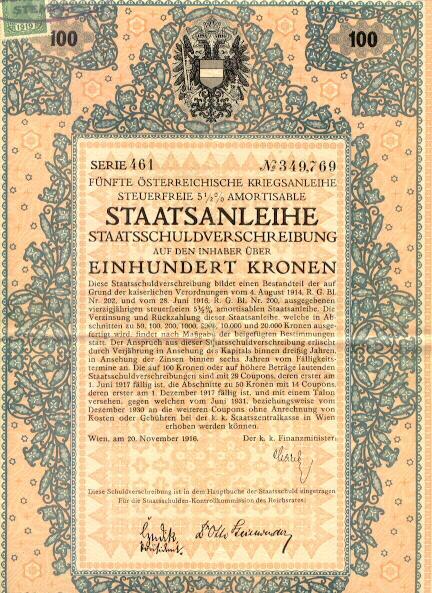 Austrian Art Deco: 5th War Bond 100 Kronen. Decorative certificate