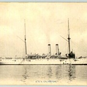 US Vessel Galveston: b/w postcard printed in Japan