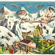 1922. Swiss Alps. Funny postcard with Zeppelins and Balloons.