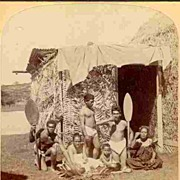 1896: Group of Hawaiian Natives eating Poi. Stereo Photo