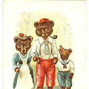 2 Trading Litho Cards for Soap Producer, ca. 1920. Teddy Bears, Lions