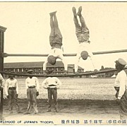 Japanese Soldiers exercising Sports: Vintage Postcard printed in Japan in ca. 1910