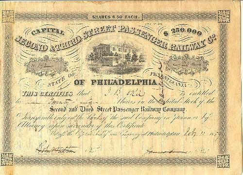 Second & Third Street Passenger Railway Co. Share from 1859