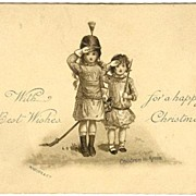 Very early Xmas postcard, Children in Arms. Litho.