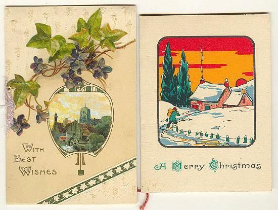 2 vintage Xmas Greeting Cards