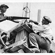 """Jewish Builders"". Palestine photo, printed in Austria"