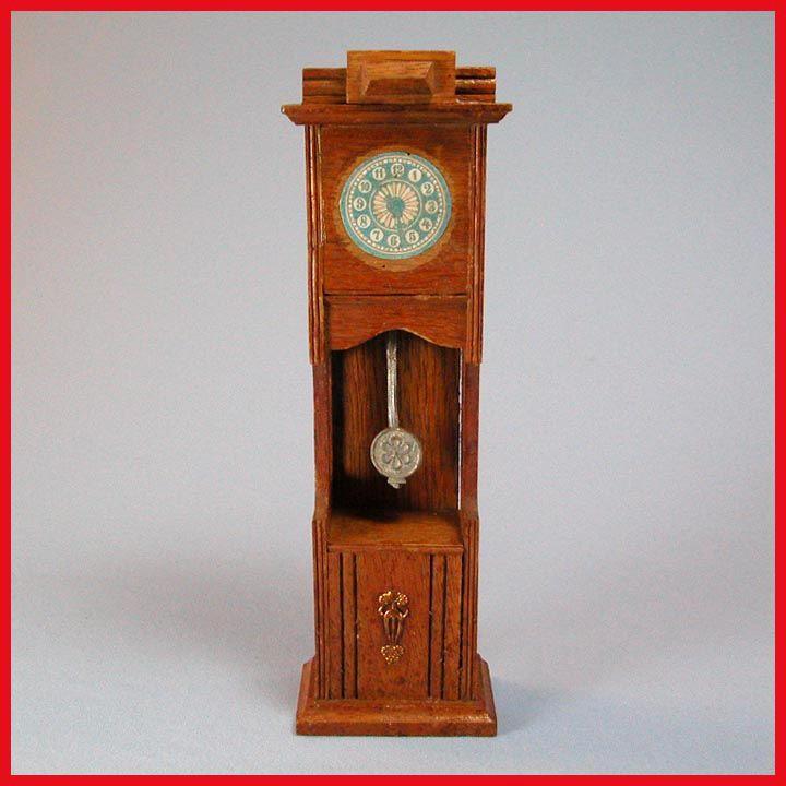 "Antique German Dollhouse Oak Grandfather Clock 1910 Large 1"" Scale"