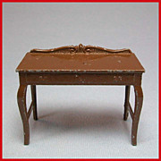 "Tootsie Toy Dollhouse Dining Room Server – Brown 1920s 1/2"" Scale"