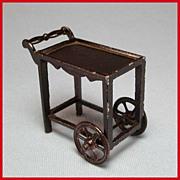 "Tootsie Toy Dollhouse Tea Cart – Dark Brown 1920s 1/2"" Scale"