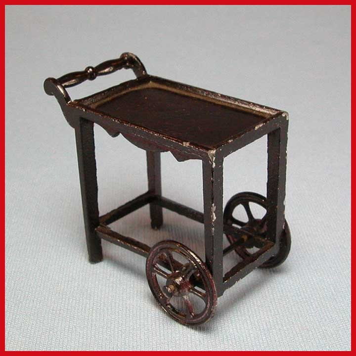 "Tootsie Toy Dollhouse Tea Cart – Dark Brown 1920s 1/2"" Scale"