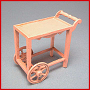 "Tootsie Toy Dollhouse Tea Cart – Pink 1920s 1/2"" Scale"