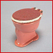 "Tootsie Toy Dollhouse Toilet – Dusty Pink & White with Flocked Lid 1930s 1/2"" Scale"