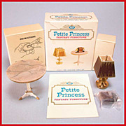 "Petite Princess Dollhouse #4428-9 Heirloom Table & Accessories MINT in Box by Ideal 1964 3/4"" Scale"