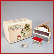 "Petite Princess Dollhouse #4425-5 Royal Grand Piano, Bench & Accessories in Box by Ideal 1964 3/4"" Scale"