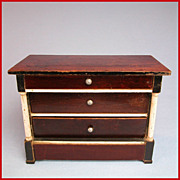 """Early Kestner Antique Dollhouse Chest of Drawers 1830s – 1840s Large 1"""" Scale"""