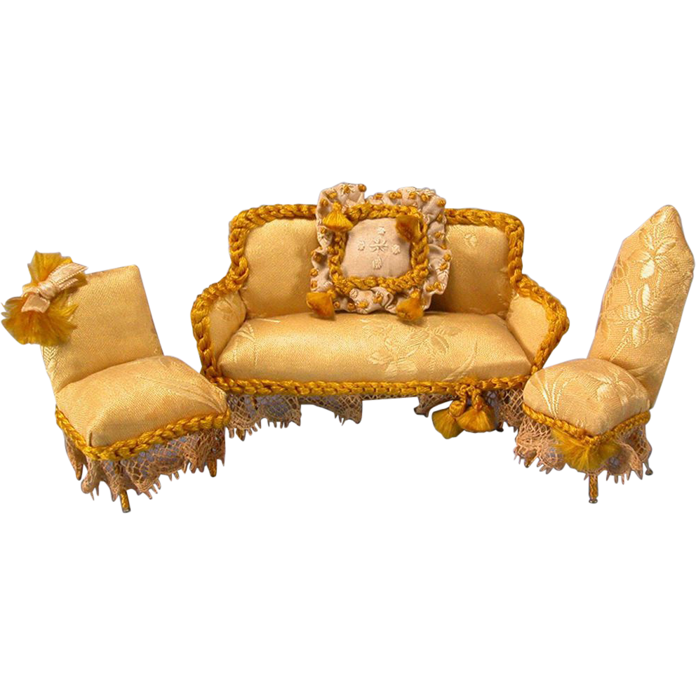 Handcrafted Dollhouse Miniature Gold Damask Upholstered  : 60411L from rubylane.com size 992 x 992 png 778kB